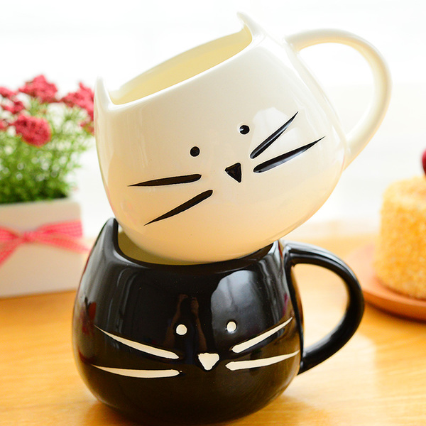 1PCS-cute-white-black-cat-mug-Milk-ceramic-creative-juice-coffee-Porcelain-Tea-cup-and-mug